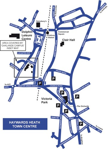 Map of Oaklands campus and surrounding roads