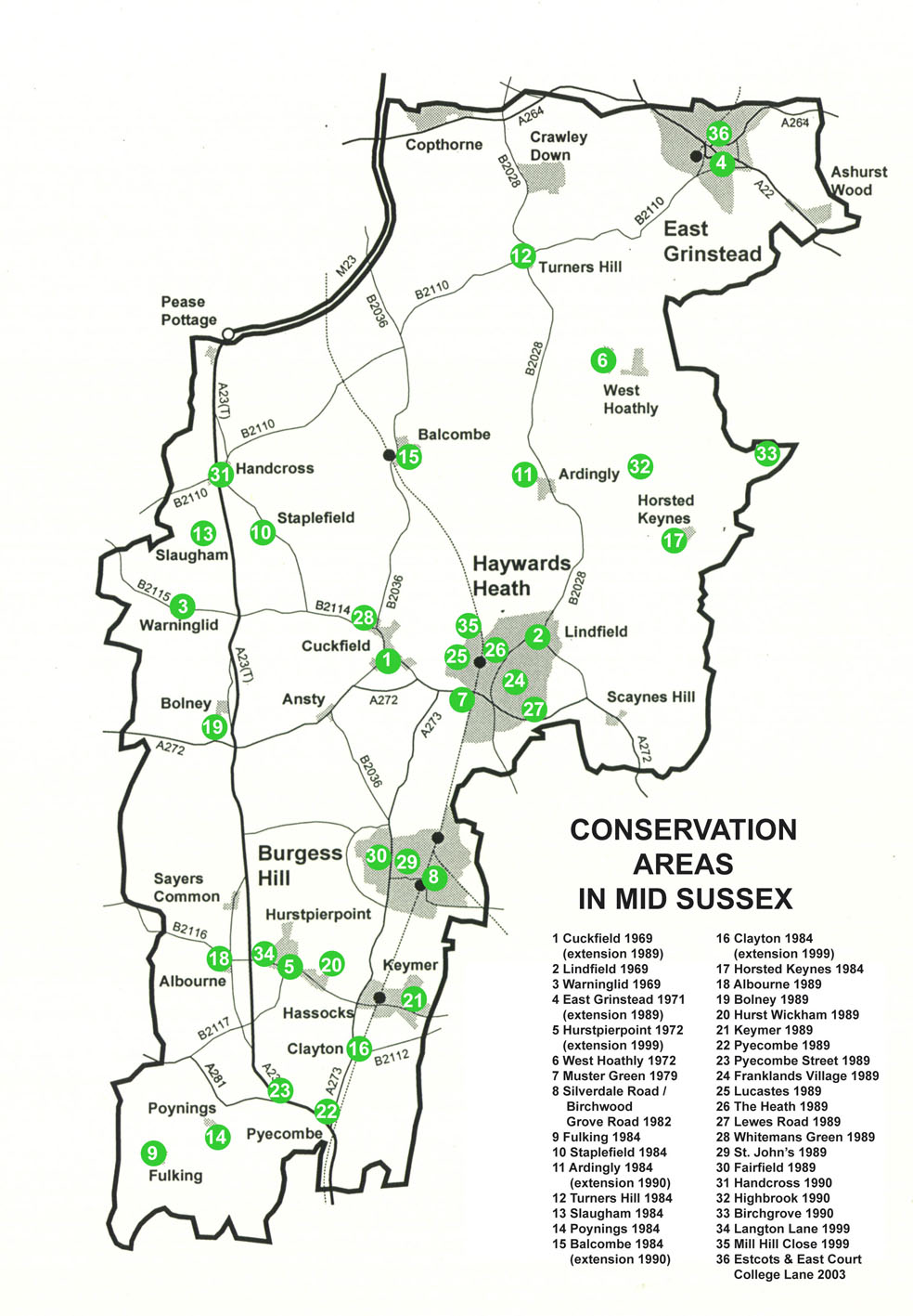 Map of Conservation Areas in Mid Sussex