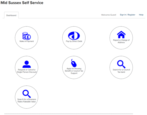 image of self service dashboard showing three rows of actions