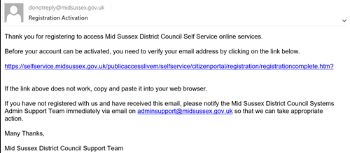 Email showing defaul wording and activation link from Mid Sussex District Council