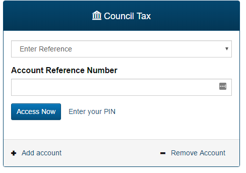 Council tax service box requesting account reference number and showing options for accessing account